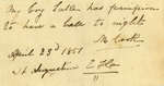 Permit for a slave to attend a ball, St. Augustine Papers, April 23, 1851 by Bartholomew Lynch