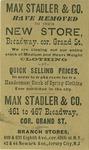 Max Stadler & Co., Leading Clothiers.