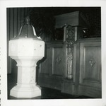 1957 Brick Church: Baptismal Font, Carved Lectern, Chancel Enclosure