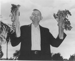 Andrew Duda, Sr. holding two celery bouquets, c. 1950