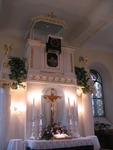 Altar and pulpit of Duda Family's ancestral church in Slovakia. June, 2009, Original Image
