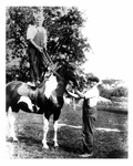 Andrew Duda, Jr. and older brother, John Duda, with horse, c.1917, Enhanced Image