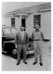 A. Duda & Sons, Inc. first office building, c.1940, with Andy, Jr. and John Duda, Black and White