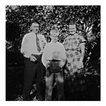 Andy Duda, Jr., with wife, Elizabeth and son, Andy. L., c.1951, Black and White