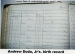 Archival pages in Slovakia. Record of births of John (June 18, 1904), Andrew, Jr. (April 17, 1906), and Ferdinand (April 22, 1909)Duda.