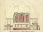 Architect's designs and blueprints for 1957 Chancel by James Gamble Rogers