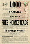 1,000 families can find free homesteads in Orange County, Florida, 1876