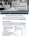 The Subject Librarian Newsletter, Finance & Real Estate, Fall 2013