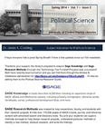 The Subject Librarian Newsletter, Political Science, Spring 2014