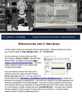The Subject Librarian Newsletter, Public Administration, Fall 2014