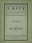 Unity: An address delivered by Daniel De Leon at New Pythagoras Hall, New York, February 21, 1908