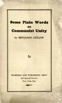 Some plain words on Communist unity