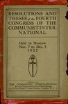 Resolutions & theses of the fourth congress of the Communist International, held in Moscow, Nov. 7 to Dec. 3, 1922