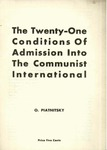 The twenty-one conditions of admission into the Communist International