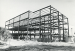 Biological Sciences Building construction, steel frame ground view by Chuck Seithel
