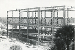 Biological Sciences Building construction - steel frame view from third story. by Chuck Seithel