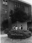 Howard Phillips Hall - students at entrance