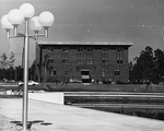Howard Phillips Hall - view from in front of the Administrative Building, 1973.