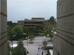 Library - view from Student Union entrance